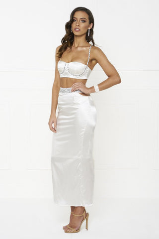 Honey Couture MADDIE White Satin Crop Bustier Top Maxi Skirt Set Honey Couture One Honey Boutique AfterPay ZipPay OxiPay Laybuy Sezzle Free Shipping