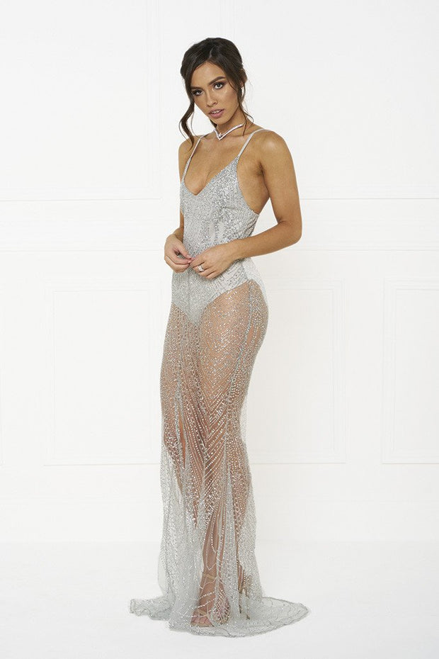 Honey Couture EVELYN Silver Glitter Sheer Formal Dress Honey Couture$ AfterPay Humm ZipPay LayBuy Sezzle