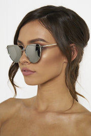 Honey Couture KOURTNEY Silver on Silver Sunglasses Honey Couture One Honey Boutique AfterPay ZipPay OxiPay Laybuy Sezzle Free Shipping