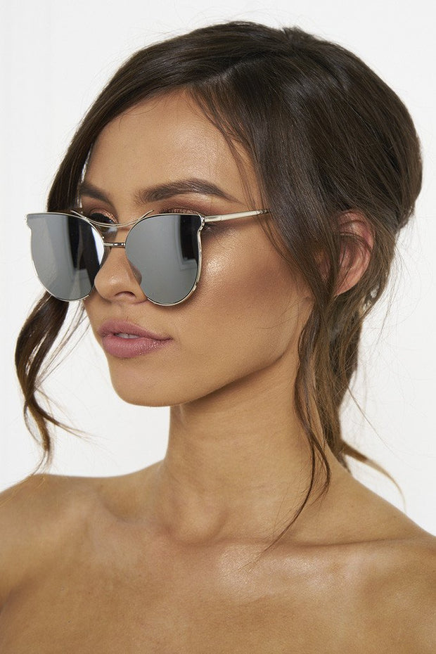 Honey Couture GEORGIE Silver Sunglasses Honey Couture Sunglasses$ AfterPay Humm ZipPay LayBuy Sezzle