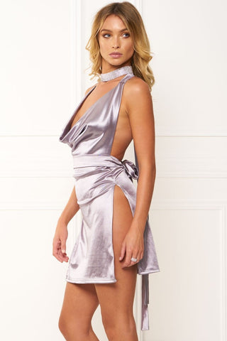Honey Couture FELICIA Flash Silver Halter Mini Dress