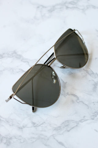 Honey Couture KOURTNEY Silver on Silver Sunglasses