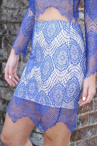 Skirt - For Love & Luck Blue & Nude Lace Skirt