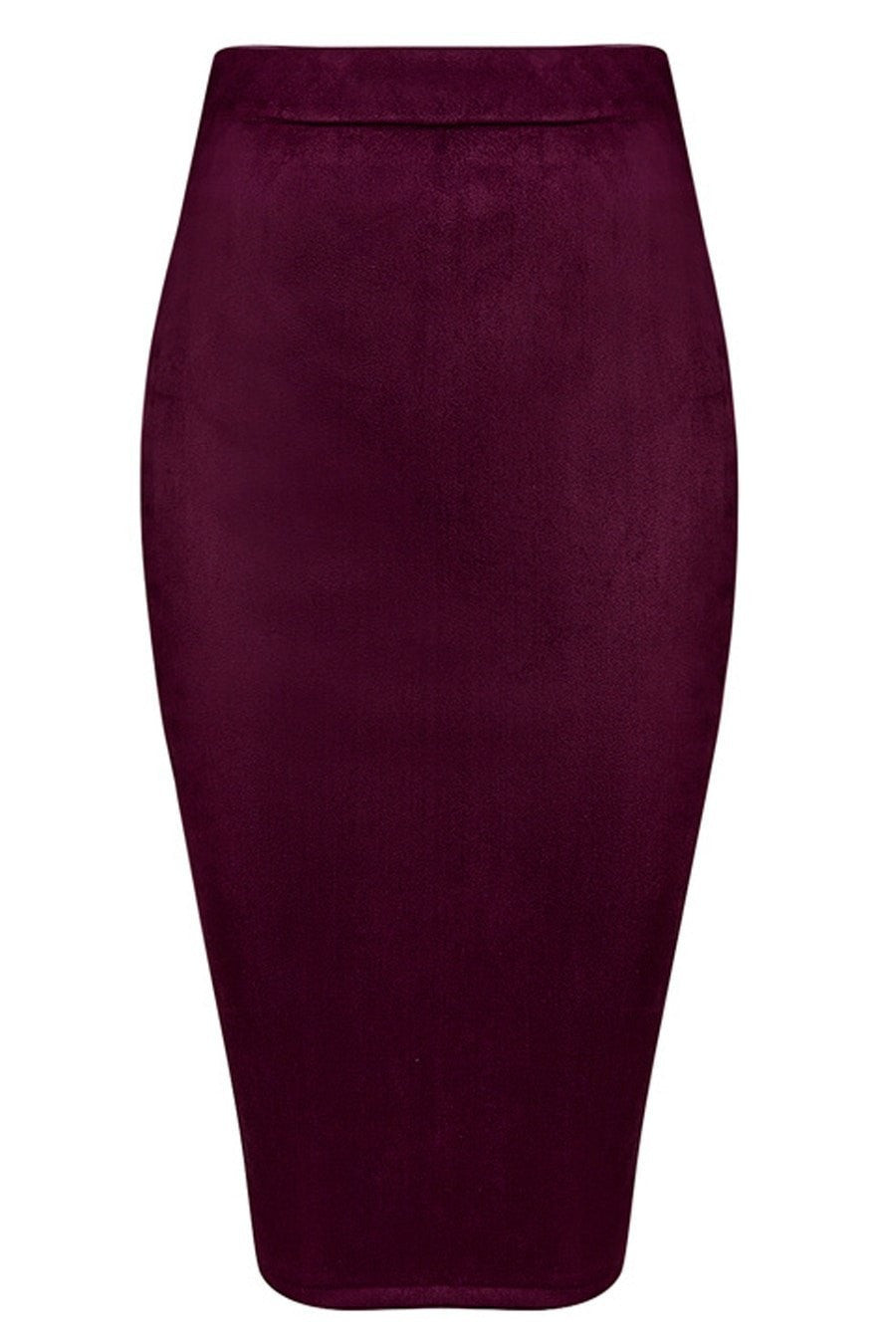 Honey Couture COLETTE Suede Look Burgundy Pencil Zip Skirt