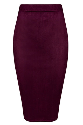 Skirt - Honey Couture COLETTE Suede Look Burgundy Pencil Zip Skirt