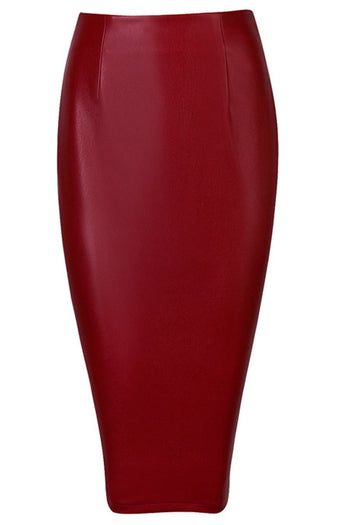 Skirt - Honey Couture JAYDA Vegan Leather Burgundy Pencil Skirt