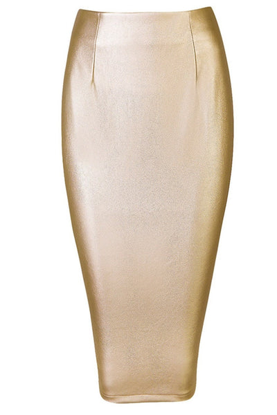 Honey Couture JAYDA Vegan Leather Metallic Gold Pencil Skirt