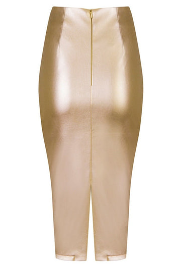Skirt - Honey Couture JAYDA Vegan Leather Metallic Gold Pencil Skirt