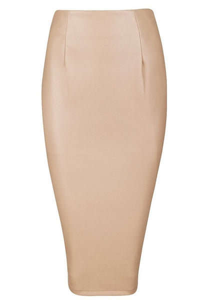 Honey Couture JAYDA Vegan Leather Nude Pencil Skirt