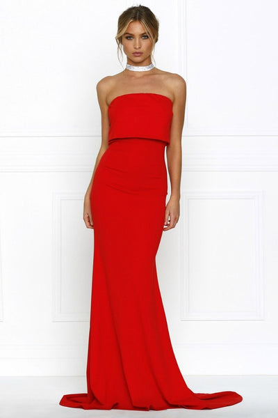 Honey Couture RHIANA Red Strapless Bandeau Cropped Evening Gown Dress Australian Online Store One Honey Boutique AfterPay ZipPay