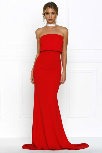 Honey Couture RHIANA Red Strapless Bandeau Cropped Evening Gown Dress