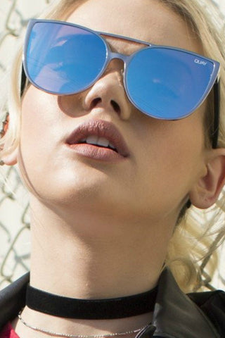 Quay Australia SORORITY PRINCESS Silver Blue Designer Sunglasses QUAY Australia One Honey Boutique AfterPay ZipPay OxiPay Sezzle Free Shipping