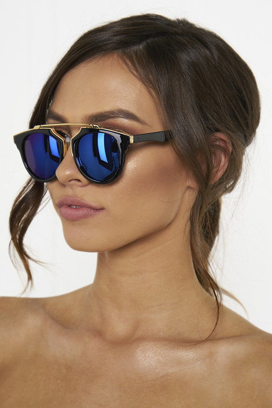 Honey Couture STACEY Gold & Black Frame Blue Reflective Sunglasses Honey Couture One Honey Boutique AfterPay ZipPay OxiPay Laybuy Sezzle Free Shipping