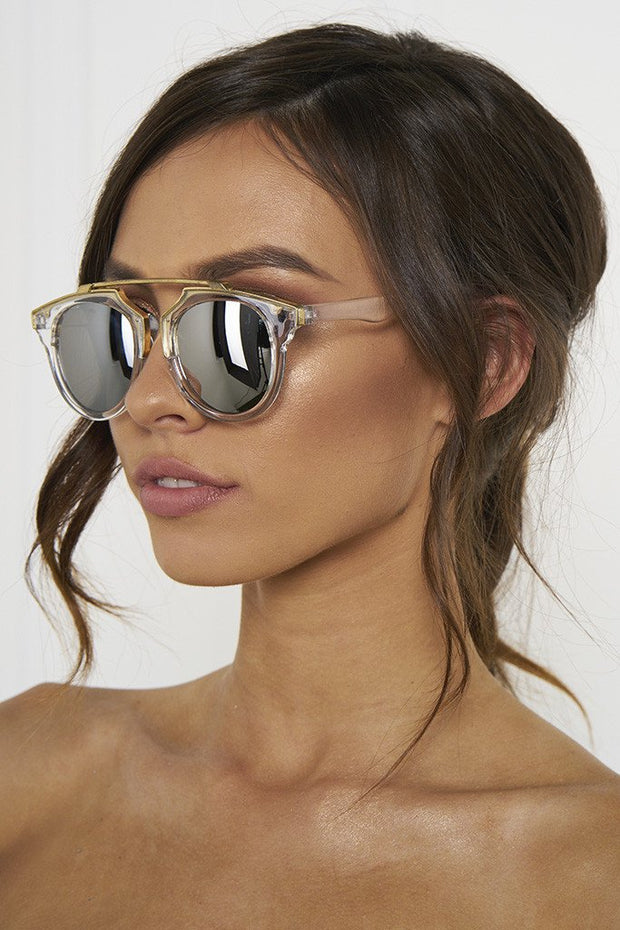 Honey Couture STACEY Gold & Clear Frame Silver Reflective Sunglasses Honey Couture Sunglasses$ AfterPay Humm ZipPay LayBuy Sezzle