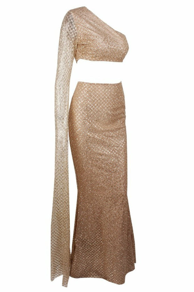 Honey Couture STASSI Gold One Shoulder Drape Sleeve Sequin Crop Top and Skirt Set Honey Couture$ AfterPay Humm ZipPay LayBuy Sezzle