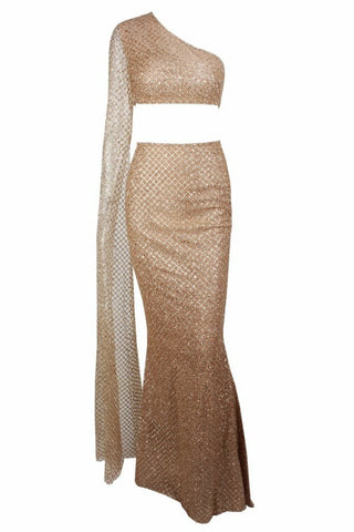 Honey Couture STASSI Gold One Shoulder Drape Sleeve Sequin Crop Top and Skirt Set