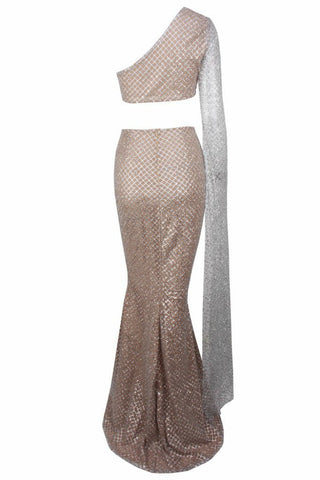 Honey Couture STASSI Silver One Shoulder Drape Sleeve Sequin Crop Top and Skirt Set