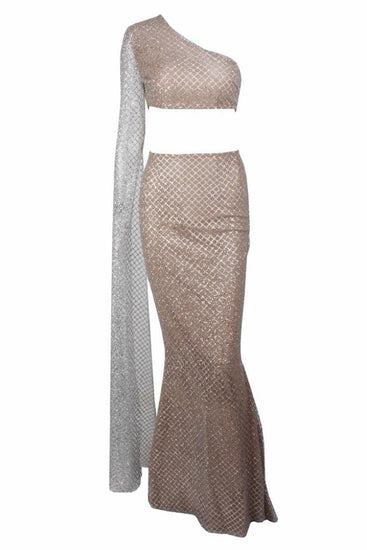 Honey Couture STASSI Silver One Shoulder Drape Sleeve Sequin Crop Top and Skirt SetHoney CoutureOne Honey Boutique AfterPay OxiPay ZipPay