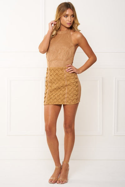 Honey Couture DANICA Khaki 3D Geometric Leather Downloop Mini Dress