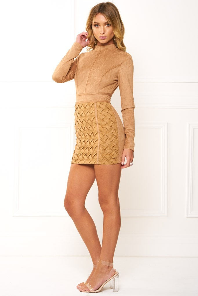 Honey Couture TIANA Khaki Long Sleeve 3D Geometric Leather Mini Dress Australian Online Store One Honey Boutique AfterPay ZipPay