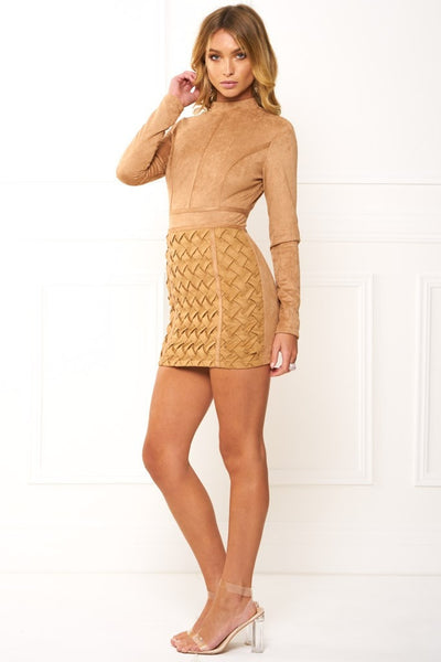 Honey Couture TIANA Khaki Long Sleeve 3D Geometric Leather Mini Dress