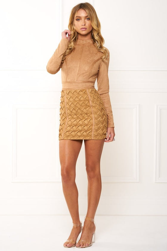 4984cc2dcdd4a Honey Couture TIANA Khaki Long Sleeve 3D Geometric Leather Mini DressHoney  CoutureOne Honey Boutique AfterPay OxiPay