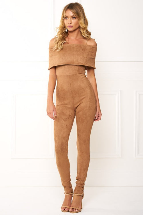 Honey Couture ZANETA Nude Leather Bandeau Jumpsuit Australian Online Store One Honey Boutique AfterPay ZipPay