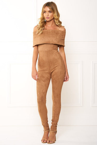 Honey Couture ZANETA Nude Leather Bandeau Jumpsuit