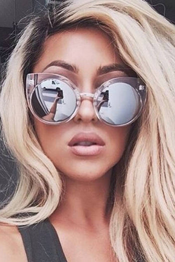 Quay Australia CHINA DOLL Clear & Silver Designer Sunglasses
