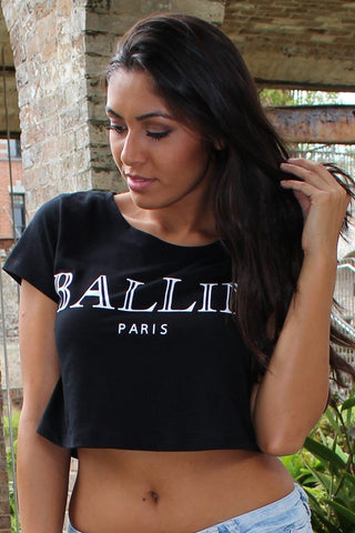 Top - BALLIN Crop Top T Shirt In Black