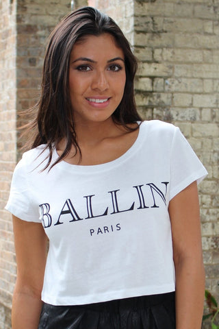 Top - BALLIN Crop Top T Shirt In White