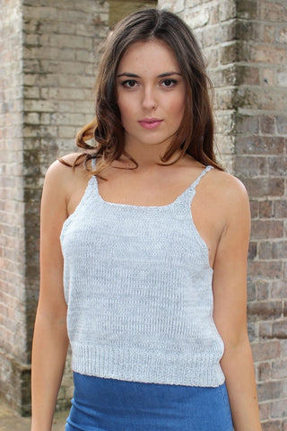 Top - Bondi Babe Grey Knit Singlet Top
