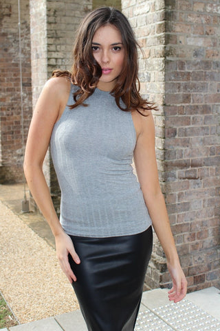 Top - Grey Sleeveless Ribbed Turtleneck Top