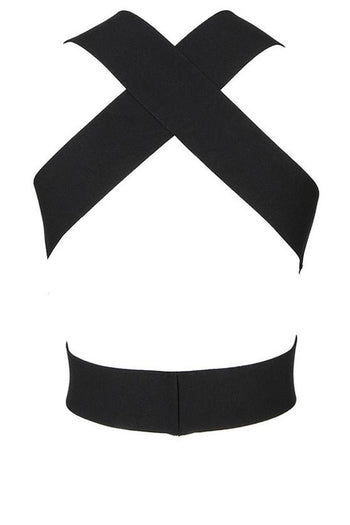 Top - Honey Couture KYLIE Black Bandage Crop Top