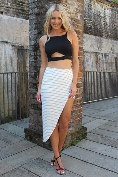 Kylie Black Cut Out Crop Top