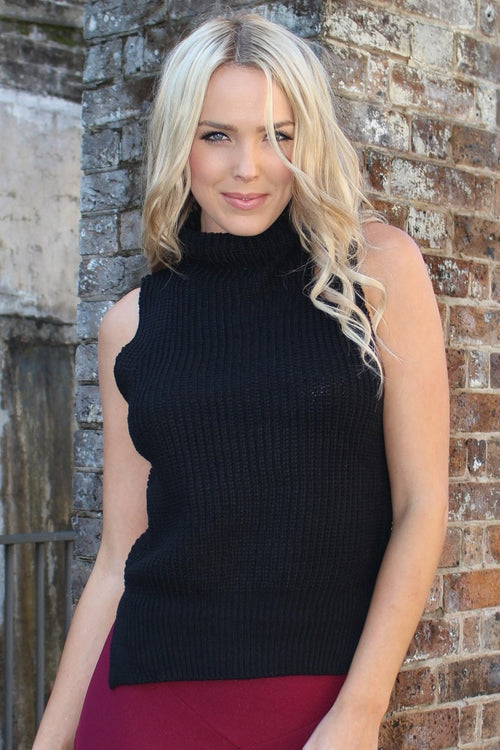 Top - Stunning Black Turtleneck Sleeveless Knit Top