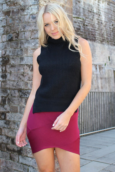 Stunning Black Turtleneck Sleeveless Knit TopOne Honey BoutiqueOne Honey Boutique AfterPay OxiPay ZipPay