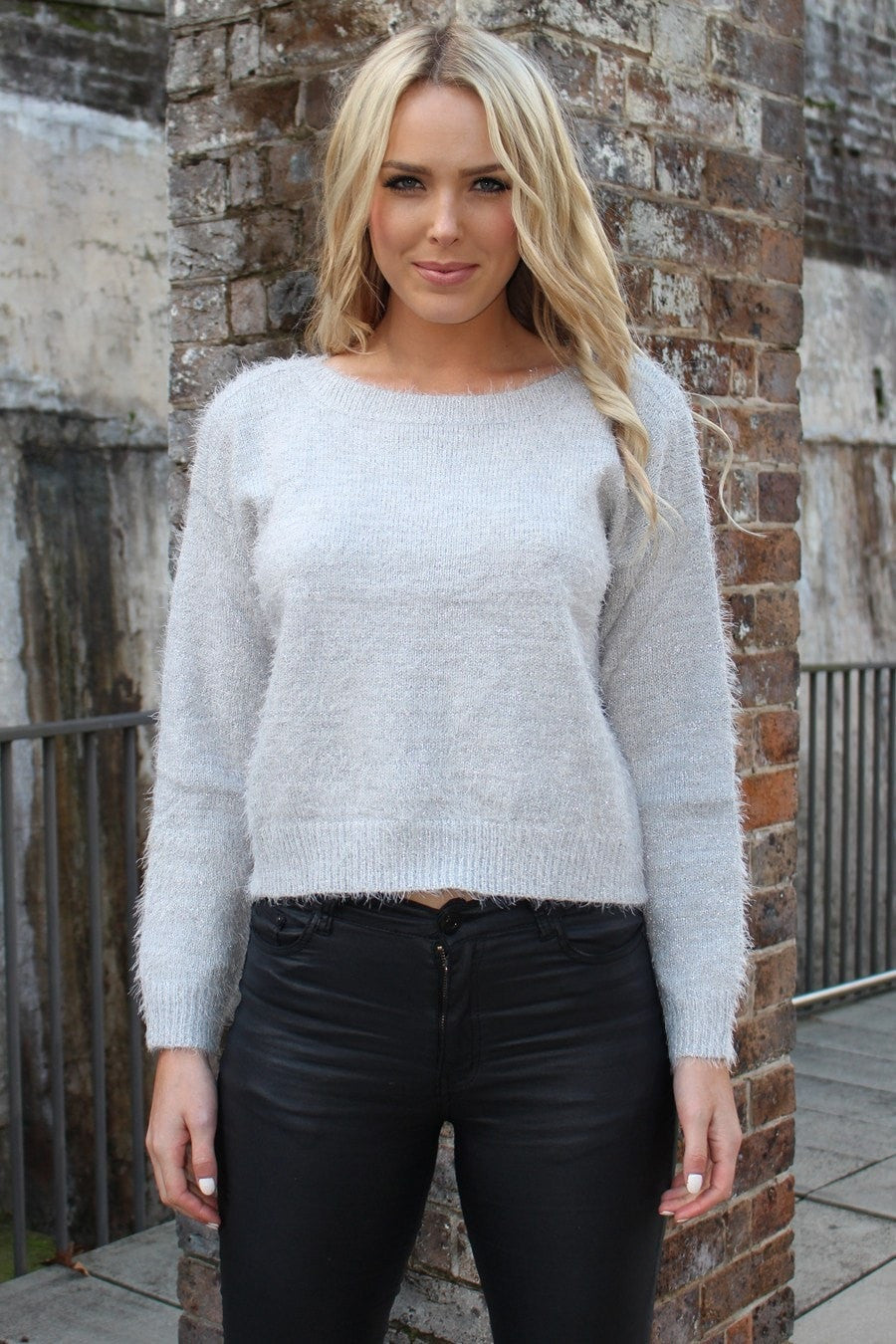 Top - Winter Nights Grey W Gold Knit Jumper