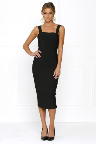 Honey Couture KAYLA Black Thick Strap Midi Bandage Dress Honey Couture One Honey Boutique AfterPay ZipPay OxiPay Sezzle Free Shipping