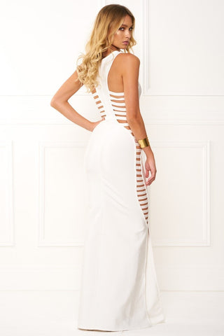 Honey Couture EMMY White High Neck Cut Out Bandage Maxi Formal Dress