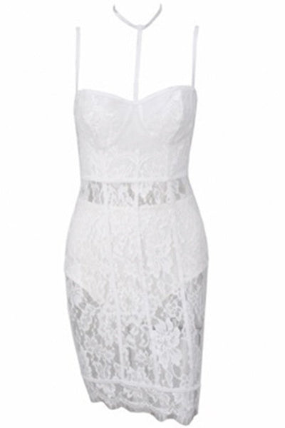 Honey Couture CYNTHIA White Lace Mini Dress w Choker