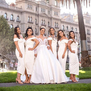 Tina Holly Couture Connelly R1767 White Off Shoulder Bridesmaids Midi Dress {vendor} AfterPay Humm ZipPay LayBuy Sezzle