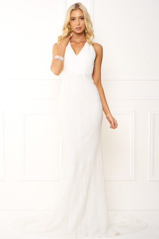 Honey Couture SABRINA White Crossover Back Sequin Formal Gown Dress
