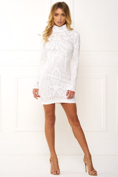 Honey Couture ANIKA White High Neck Long Sleeve Sequin Dress