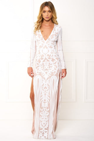 Honey Couture EBONIQUE White Long Sleeve Sequin Slit Gown
