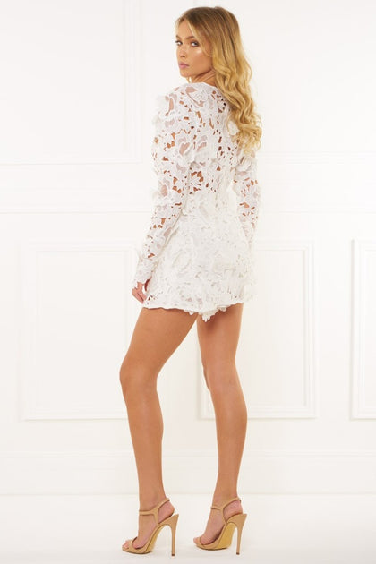 Honey Couture Beatrice White Three Dimensional Long Sleeve Lace Playsu