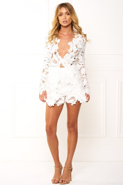 Honey Couture BEATRICE White Three Dimensional Long Sleeve Lace Playsuit Set