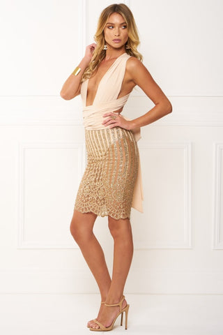 Honey Couture HAYDEN Gold Glitter Wrap Tie Mesh Midi Dress Honey Couture One Honey Boutique AfterPay ZipPay OxiPay Laybuy Sezzle Free Shipping