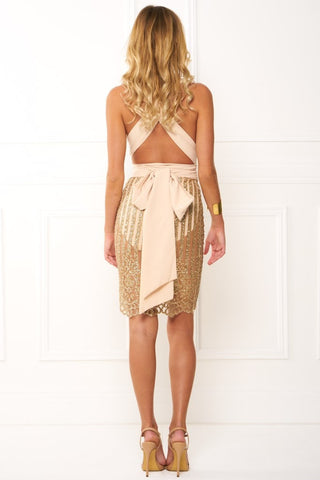 Honey Couture HAYDEN Gold Glitter Wrap Tie Mesh Midi Dress Honey Couture One Honey Boutique AfterPay ZipPay OxiPay Sezzle Free Shipping