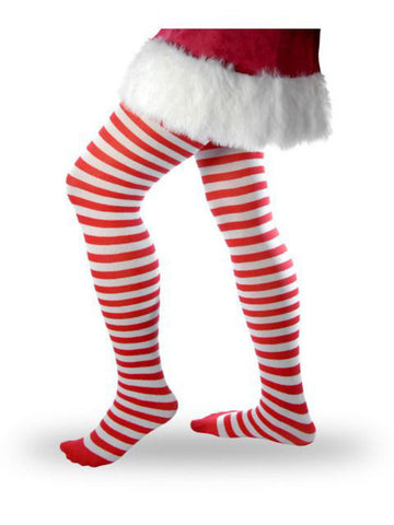 Womens Striped Tights  Red and White